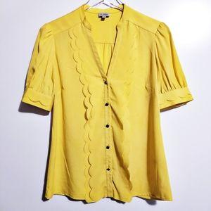 Yellow Cremieux Ruffle Scallop Blouse XS